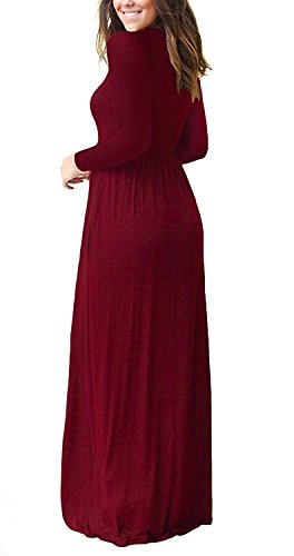 Long Sleeve Dresses Pockets Round Wine Long M Women Casual Plain Neck Loose Maxi Red Dresses with Brock wPgFRqPU