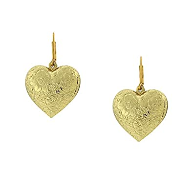 4e568affa Image Unavailable. Image not available for. Color: 1928 Jewelry Gold Tone  Puff Heart Drop Earrings
