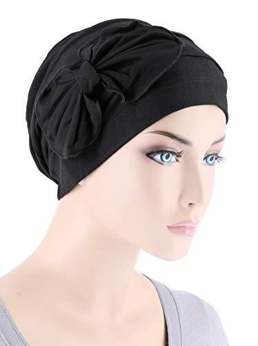 Lux Ultra Soft Bamboo Chemo Hat Flower Bow Beanie Cancer Cap Turban Onyx Black