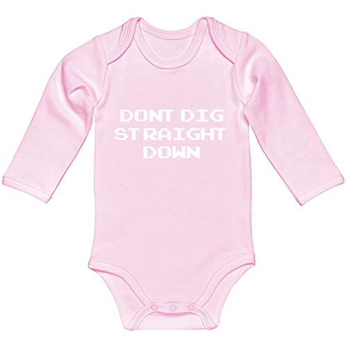 Indica Plateau Baby Romper Don't Dig Straight Down Light Pink for 12 Months Long-Sleeve Infant Bodysuit]()