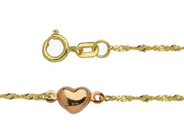 9-10'' 14k Yellow and Rose Gold Ankle Bracelet