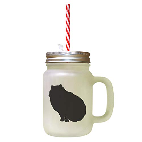 Black Himalayan Cat Silhouette #2 Frosted Glass Mason Jar With - Himalayan Black Cat