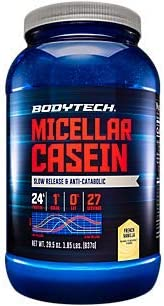 BodyTech Micellar Casein Protein Powder, Slow Release for Overnight Muscle Recovery 24 Grams of Protein per Serving French Vanilla 2 Pound