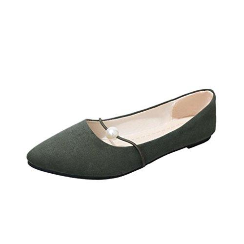Tacco A Punta Piatta Stile Amily Hot Sale Donna Slip-on Stile Casual Da Lavoro Comfort Balletto Con Morbide Scarpe Scamosciate Verdi