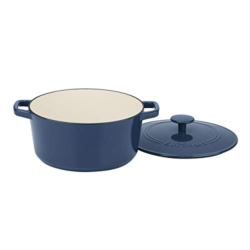 Cuisinart CI650-25BG 5 Qt Round Cast Iron Casserole, Covered, Enameled Provencial Blue