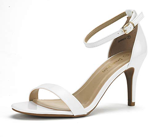 (DREAM PAIRS Women's Jenner White Pat Open Toe Ankle Strap Low Heeled Sandals Size 10 US)