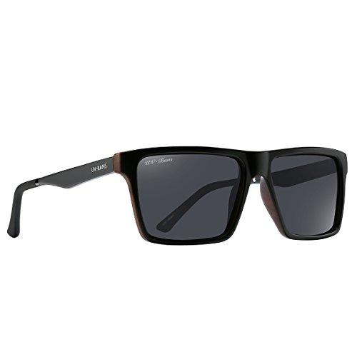 UV-BANS Unisex Polarized Sunglasses,80's Retro Designer Square Frame,TAC UV400 Glasses ,Holiday Gift idea (A+Wood Design - Fashion Bans