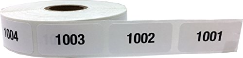 Inventory Rectangle Labels (Consecutive Number Labels 1001 - 2000 White/Black .75 x 1.5 Rectangle Small Number Stickers For Inventory)