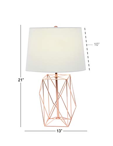 Deco 79 58662 Asymmetrical Metal Wire Table Lamp, White/Copp