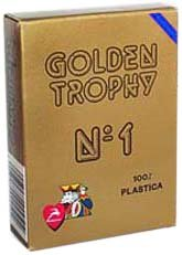Modiano Italian Poker Game Playing Cards - Blue Golden Trophy 2 Index - Single Card Deck - 100% Plastic Made in Italy (Modiano Plastic 100% Italian)