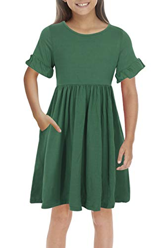 Girls Smock - GORLYA Girl's Simply Ruffle Sleeve Elegant Smock Style Casual Midi Dress with Pockets for Kids 4-12 Years (GOR1010, 9-10Y, Green Color)