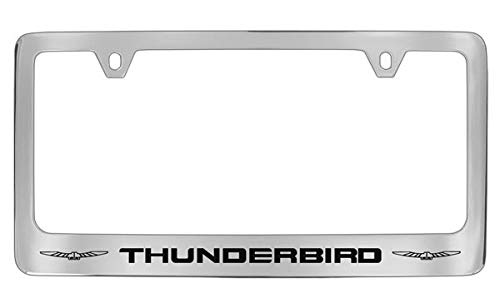 Ford Thunderbird with 2 logos Chrome Plated Metal License Plate Frame Holder ()