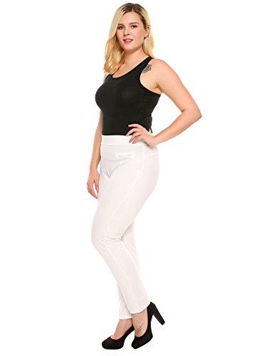 Meaneor women Plus Size Pants Comfort Straight Stretch Knit Pants