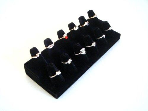 Black-Velvet-12-Finger-Ring-Showcase-Counter-Top-Display
