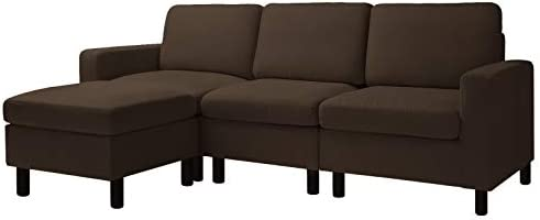 BOSSIN 77''Small Convertible Sectional Sofa Couch for Compact Apartment,Sectional L-Shaped Fabric Couch with Ottoman for Teens,Adults Grey Brown(Brown)