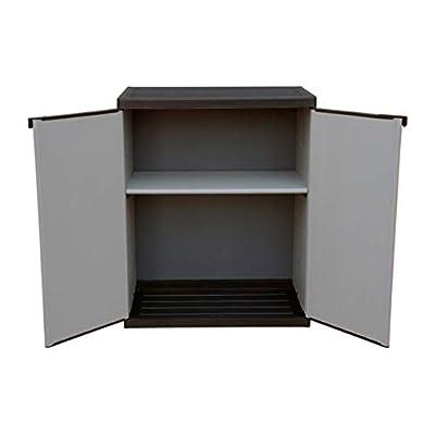 Adventa Low Plastic Patio Cabinet with 2 Door Shelves