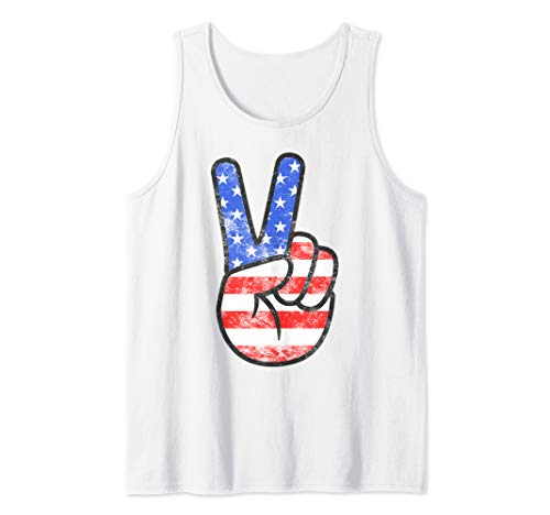American Flag Peace Sign Hand T-Shirt Fourth of July Gift Tank Top