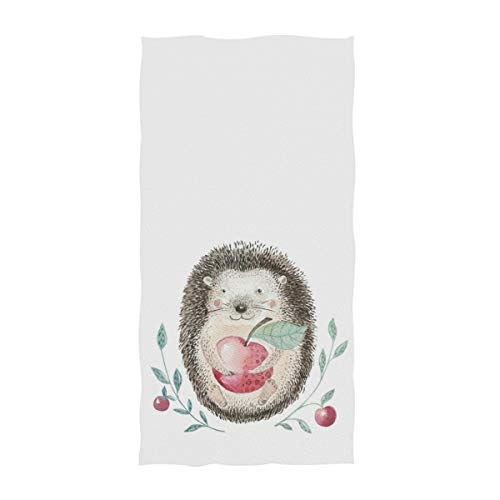 Naanle Cute Baby Hedgehog Holding Apple Print Soft Guest Hand Towels Multipurpose for Bathroom, Hotel, Gym and Spa (16
