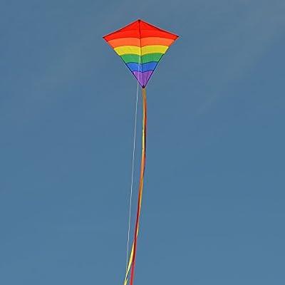 In the Breeze Arch Diamond Kite - Single Line Diamond Kite - Rainbow Spectrum, 39-Inch: Toys & Games