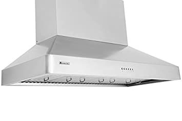 XtremeAir LED Lights, W DL08-W48 USA Deluxe Series Wall Mount Range Hood with Baffle Filters Grease Drain Tunnel, 48