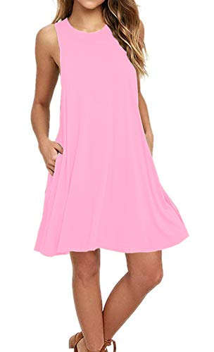 AUSELILY Women's Sleeveless Pockets Casual Swing T-Shirt Dresses (S, New Pink)
