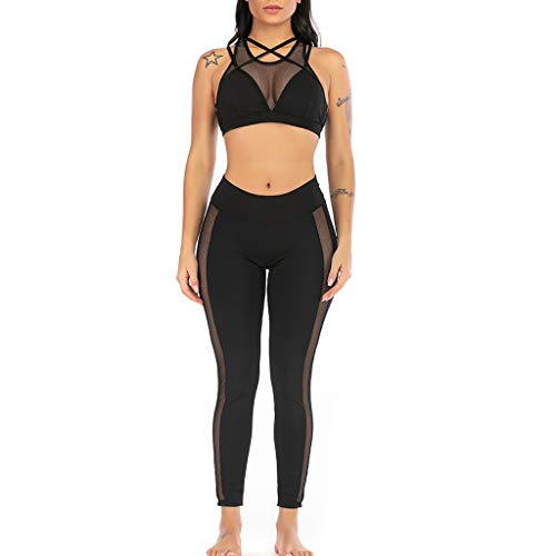 KLGDA Women's Solid Color Perspective Vest Leggings Yoga Suit Sexy Comfortable Lace Pajamas Fitness Two-Piece Black