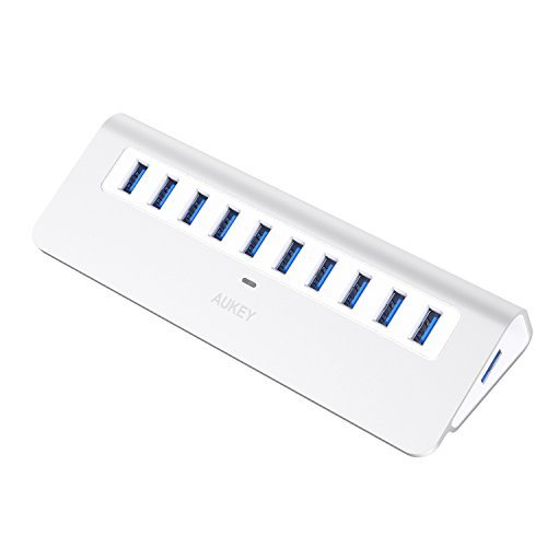 AUKEY Powered USB Hub, Aluminum 10 Port USB 3.0 Data Hub wit