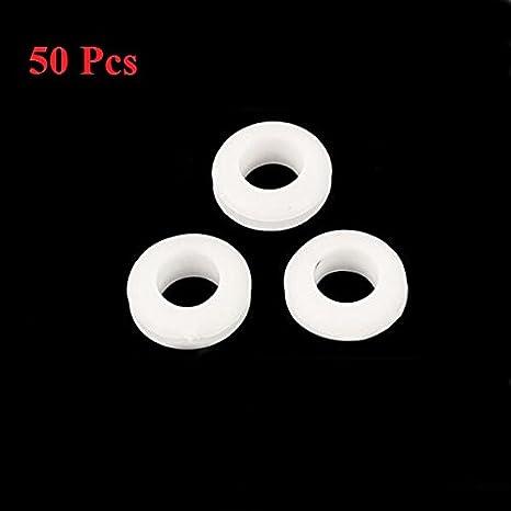 LaDicha 50Pcs Gummi Verdrahtungs-/Ösen Ring-Kabel-Schutz 5//6//7 Wei/ß 7mm 8mm Innere Dia