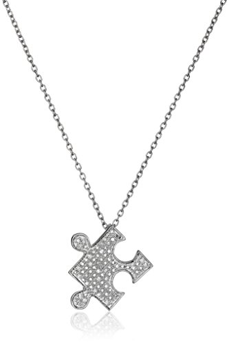 Sterling Silver Diamond Puzzle Pendant Necklace (1/10 cttw, I-J Color, I2-I3 Clarity) (Pave Silver Necklace Diamond)