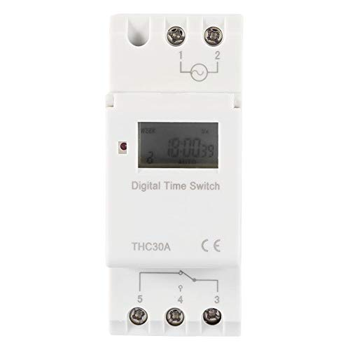 (THC Brand New Programmable Timer Switch Time Relay Digital LCD DIN 30A RAIL AC-DC 12/24/110/220V(24V))