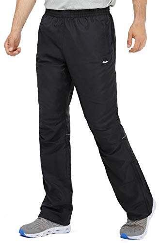 MIER Men's Sports Pants Warm Up Pants with Zipper Pockets for Workout, Gym, Running, Training (Updated Black - Sports Pants, -