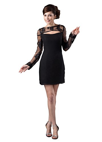 VogueZone009 Womens long Sleeve Crew Neck Pongee Floral Chiffon Formal Dress, ColorCards, 16 by VogueZone009