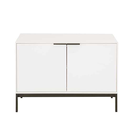 Benjara Benzara BM174104 Wooden TV Stand with Metal Handles, White and Black, One, - Includes: One TV stand only It features 2-Door cabinet for storage It includes a shelf forstoring Media equipment and DVD's etc. - tv-stands, living-room-furniture, living-room - 31TqyD8%2BByL. SS570  -