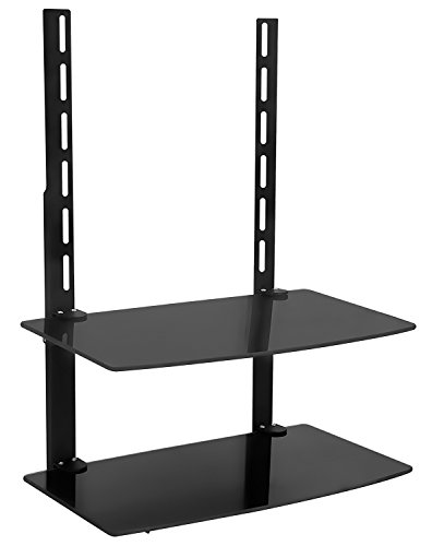 Mount-It! TV Wall Mount Shelf For Cable Box, DVD Player, AV Components and Accessories, Two Shelves, Tempered Glass Storage Bracket