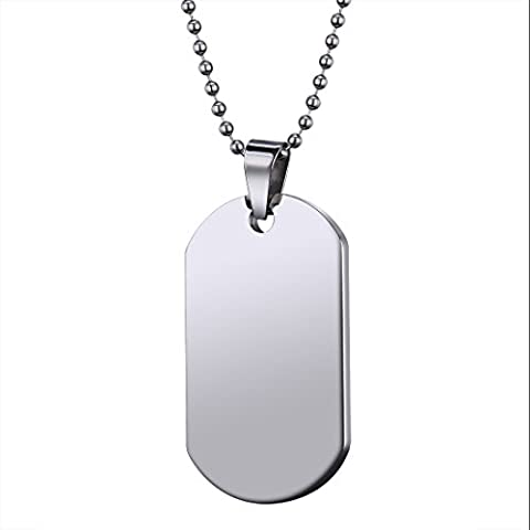SOULMEN 47mm Fashion Stainless Steel Pendant Dog Tag Necklace for Men and Women with Beaded Clasp - Stainless Dog Tag Fashion Necklace
