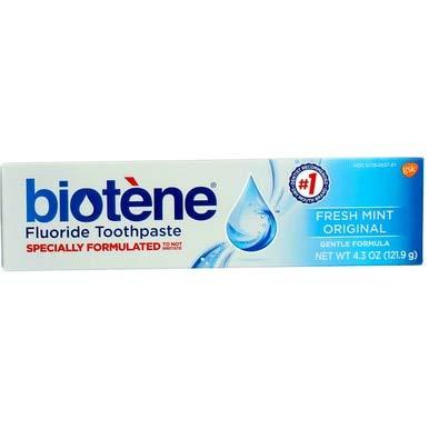 - Biotene Gentle Formula Fluoride Toothpaste, Fresh Mint 4.3 oz (Pack of 2)