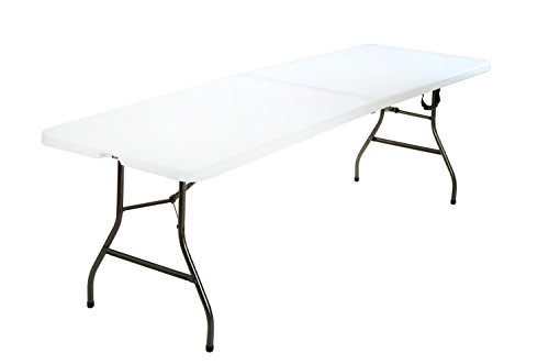 - COSCO Deluxe 8 foot x 30 inch Fold-in-Half Blow Molded Folding Table, White