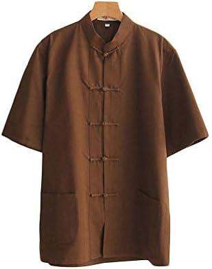 Dreambuilder(ドリームビルダー)唐装 男 夏 半袖 上着 コットン シャツ チャイナ風 無地 大きいサイズ