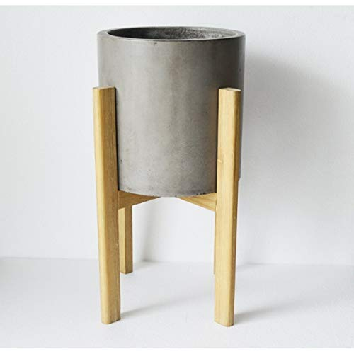 Grey Small Mid Century Planter Cement Cylinder Standing Potted Concrete Bowl Mid-Modern Industrial Cedar Wood Frame Stand Modern Indoor Circle Decorative Accessories