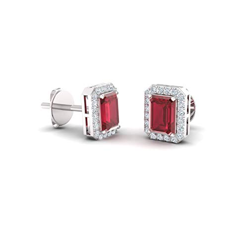Diamondere Natural and Certified Ruby and Diamond Stud Earrings in 14K White Gold | 0.67 Carat Halo Earrings for ()