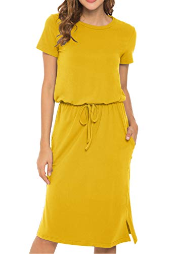 - Women's Plain Short Sleeve Casual Pockets Midi Dress with Belt Golden S