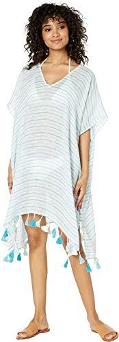 (Seafolly Women's Beach Basics Linen Stripe Kaftan, Inka Blue, One Size)