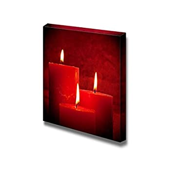 Canvas Prints Wall Art - Three Red Candles | Modern Wall Decor/Home Art Stretched Gallery Canvas Wraps Giclee Print & Ready to Hang - 24