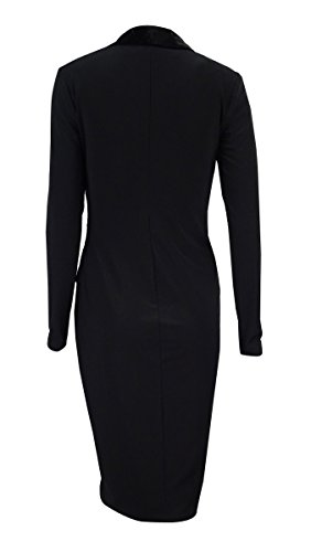 Lauren Ralph Lauren Womens Faux Wrap Velvet Lapel Cocktail Dress Black 10