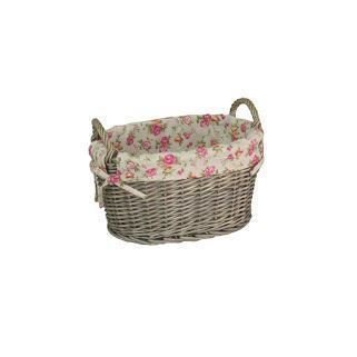 Medium Garden Rose Lining Antique Wash Oval Wicker Storage Basket by Red Hamper