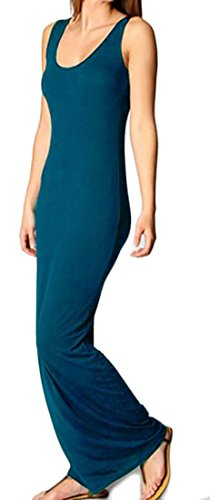 Bodycon Blue Sleeveless Dress Crewneck Tank Womens Solid Cromoncent Maxi Lake Color fvqt4Xnxw