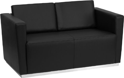 (Flash Furniture HERCULES Trinity Series Contemporary Black Leather Loveseat with Stainless Steel Base)