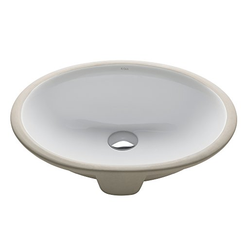 KRAUS Elavo 17 Inch Oval Undermount Porcelain Ceramic Bathroom Sink in White with Overflow, KCU-211 by Kraus