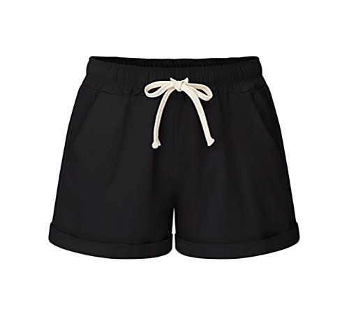 Pantaloncini Lino Con Shorts Moda Corti Casual Giovane Tasca Taglie Grazioso Forti Donna Nero Estivi Women Pantaloni Baggy C8wq8rX