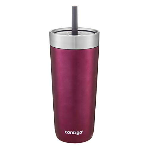 Contigo Luxe Stainless Steel Tumbler with Spill-Proof Lid and Straw | Insulated Travel Tumbler with No-Spill Straw, 18 oz, Passion Fruit